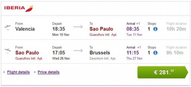 Valencia, Malaga, Bilbao, Barcelona >> Sao Paulo >> Brisel