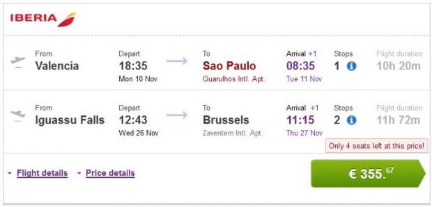 Valencia, Malaga, Bilbao, Barcelona >> Sao Paulo — Iguassu Falls >> Brisel