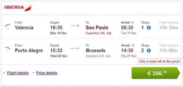 Valencia, Malaga, Bilbao, Barcelona >> Sao Paulo — Porto Alegre >> Brisel