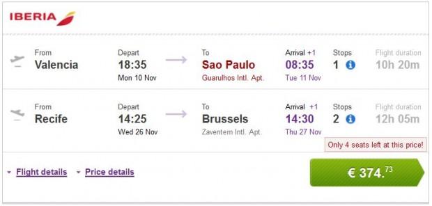 Valencia, Malaga, Bilbao, Barcelona >> Sao Paulo — Recife >> Brisel