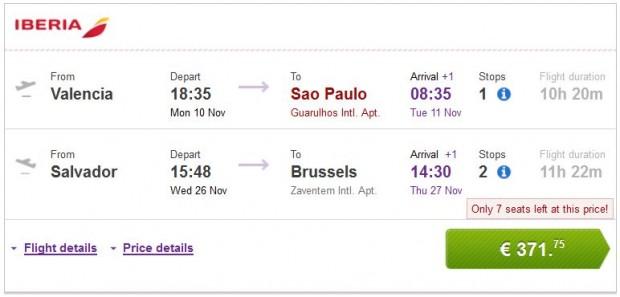 Valencia, Malaga, Bilbao, Barcelona >> Sao Paulo — Salvador >> Brisel