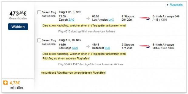 Zagreb >> Los Angeles -- San Diego >> Budimpešta