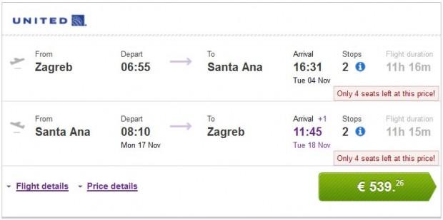 Zagreb >> Santa Ana >> Zagreb