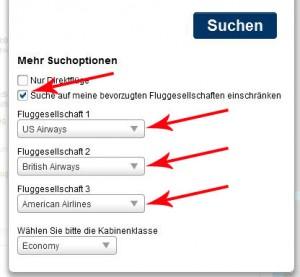 Uključite pretraživanje preferiranih avio kompanija