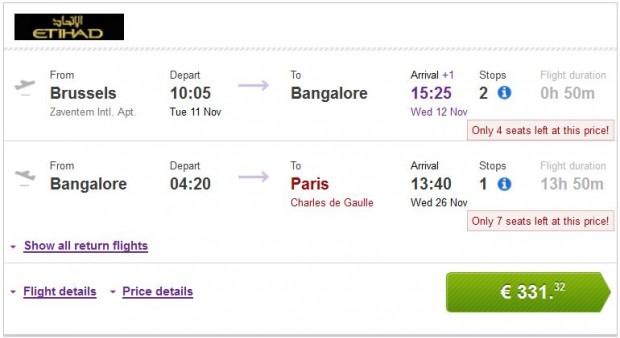 Brisel >> Bangalore >> Pariz