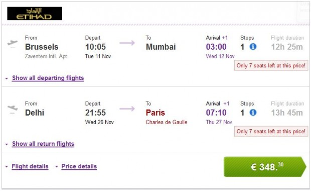 Brisel >> Mumbai -- Delhi >> Pariz