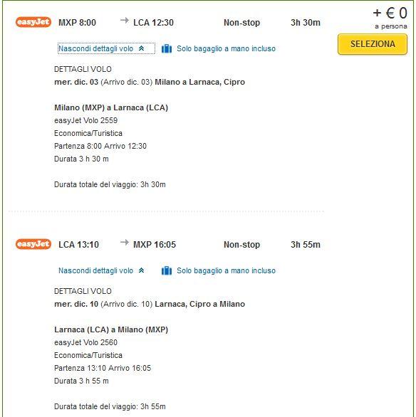 Detalji o letu Milano >> Larnaca >> Milano