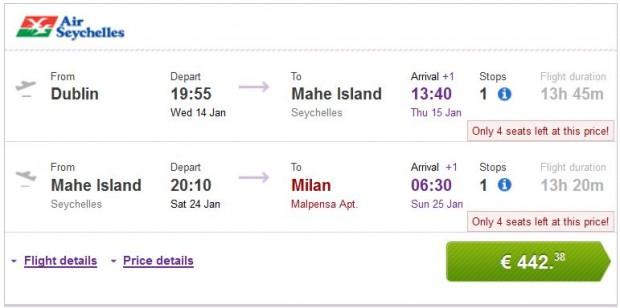 Dublin >> Mahe Island (Sejšeli) >> Milan