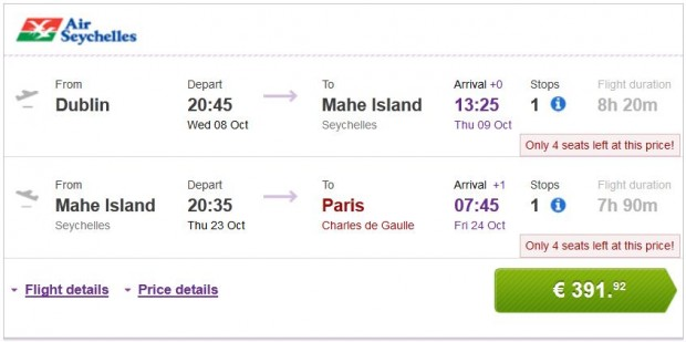 Dublin >> Mahe Island (Sejšeli) >> Pariz