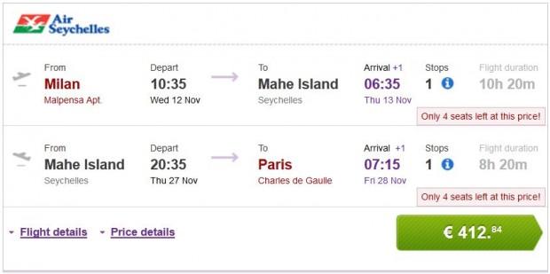 Milan >> Mahe Island (Sejšeli) >> Pariz