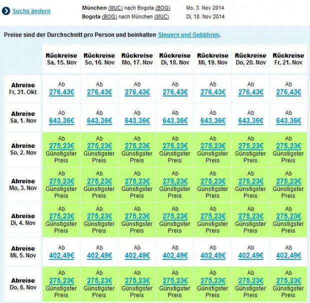 Minhen >> Bogota, raspoloživi su mnogi datumi