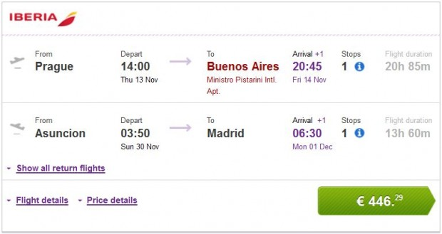 Prag >> Buenos Aires -- Asuncion >> Madrid