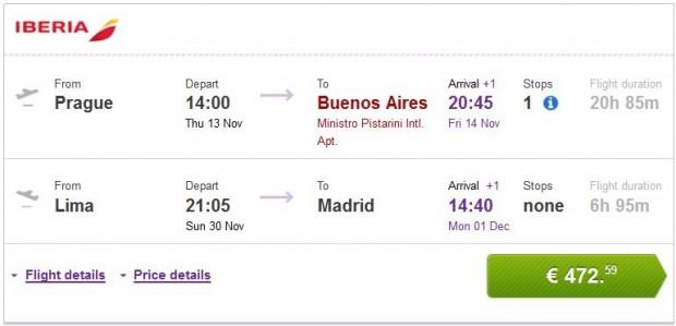 Prag >> Buenos Aires -- Lima >> Madrid