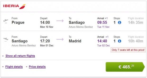 Prag >> Santiago de Chile >> Madrid