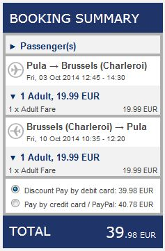 Pula >> Brussels Charleroi >> Pula