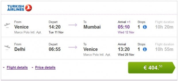 Venecija >> Mumbai -- Delhi >> Venecija