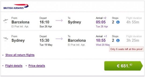Barcelona >> Sydney >> Barcelona