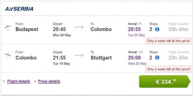 Budimpešta >> Colombo >> Stuttgart ili Berlin