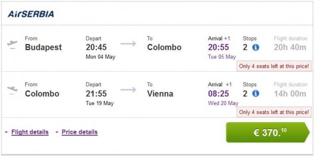 Budimpešta >> Colombo >> Beč
