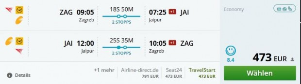 Zagreb >> Jaipur >> Zagreb