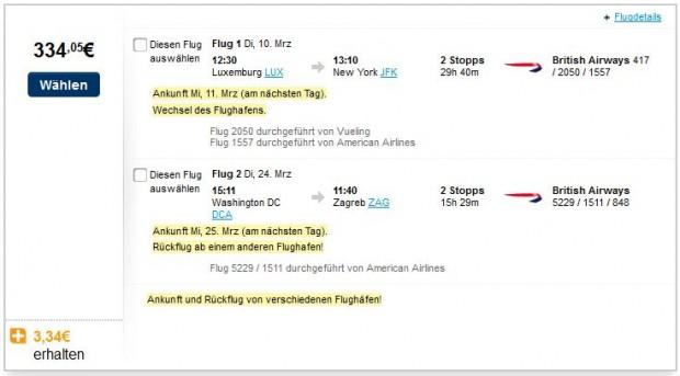 Luksemburg >> New York -- Washington DC >> Zagreb