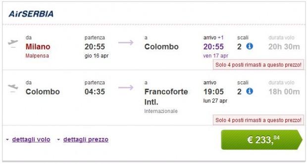 Milano >> Colombo >> Frankfurt