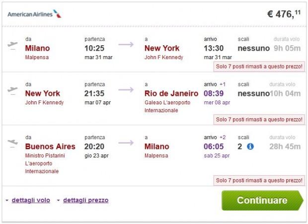 Milano >> New York >> Rio de Janeiro -- Buenos Aires >> Milano