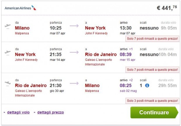 Milano >> New York ili Miami >> Rio de Janeiro >> Milano