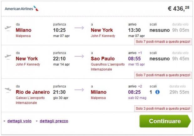 Milano >> New York ili Miami >> Sao Paulo — Rio de Janeiro >> Milano