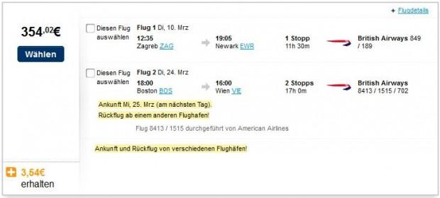 Zagreb >> New York -- Boston >> Minhen, Beč