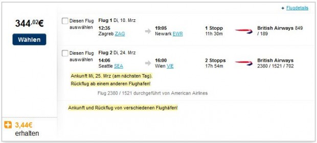 Zagreb >> New York -- Seattle >> Minhen, Beč