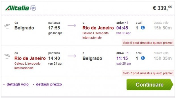 Beograd >> Rio de Janeiro ili Sao Paulo >> Beograd