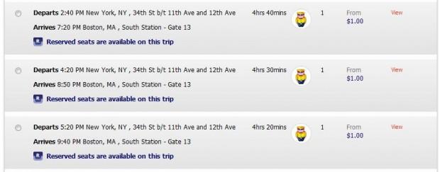 Bus, New York >> Boston