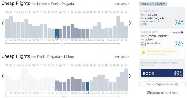 Lisabon >> Ponta Delgada >> Lisabon