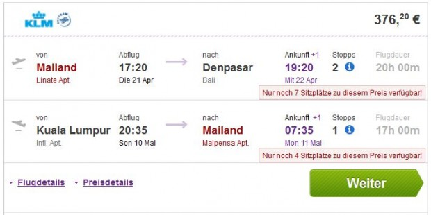 Milano >> Denpasar (Bali) -- Kuala Lumpur >> Milano
