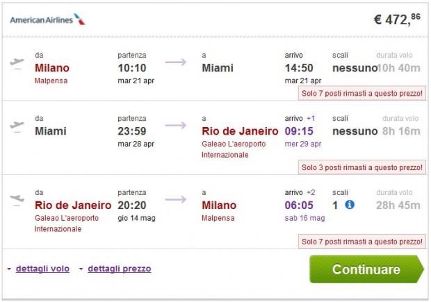 Milano >> Miami ili New York >> Rio de Janeiro >> Milano