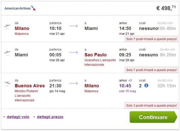 Milano >> Miami ili New York >> Sao Paulo -- Buenos Aires >> Milano