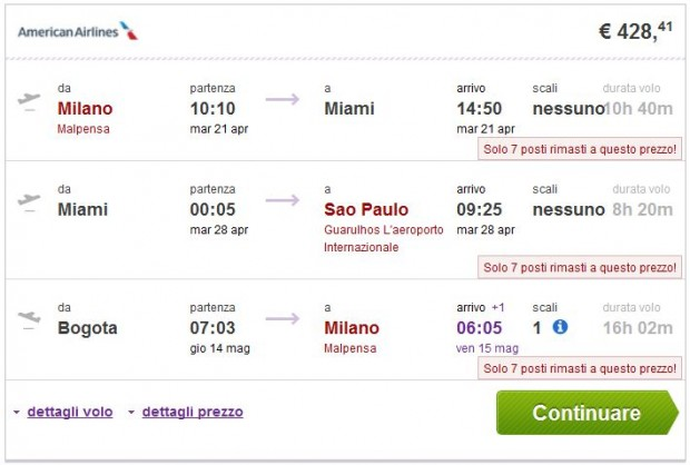 Milano >> Miami ili New York >> Sao Paulo -- Bogota >> Milano