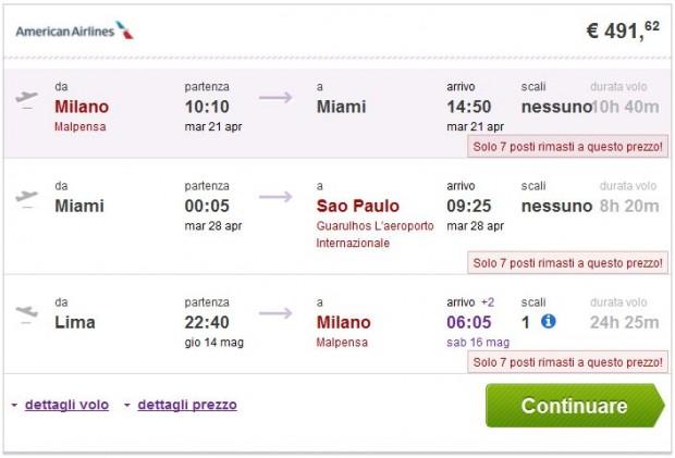 Milano >> Miami ili New York >> Sao Paulo -- Lima >> Milano