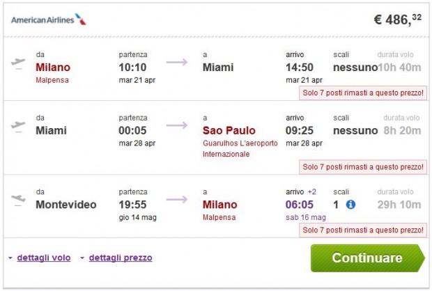 Milano >> Miami ili New York >> Sao Paulo -- Montevideo >> Milano