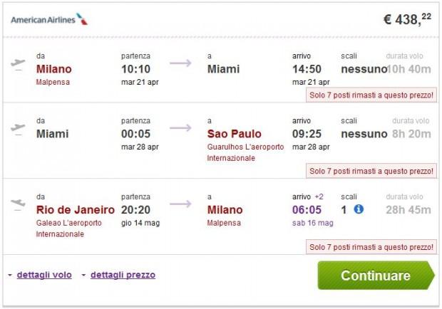 Milano >> Miami ili New York >> Sao Paulo — Rio de Janeiro >> Milano