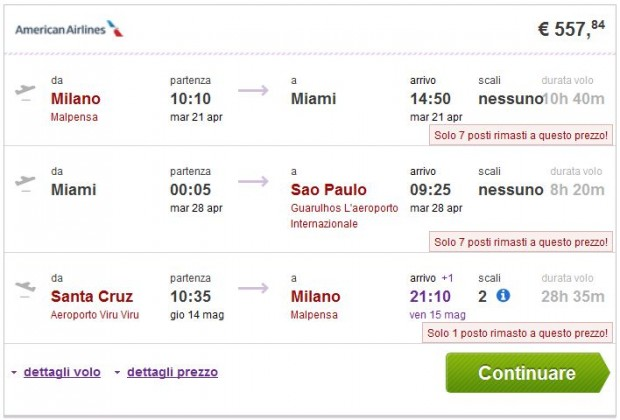 Milano >> Miami ili New York >> Sao Paulo -- Santa Cruz >> Milano