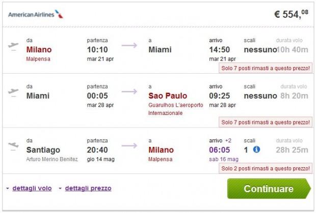Milano >> Miami ili New York >> Sao Paulo -- Santiago de Chile >> Milano