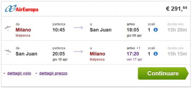 Milano >> San Juan >> Milano
