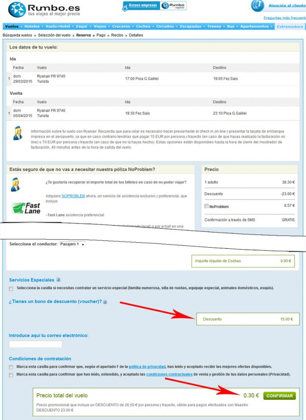 Pisa >> Fez >> Pisa, na rumbo.es stranicama sa kodom za popust
