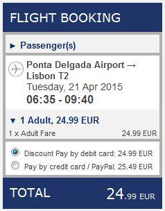 Ponta Delgada >> Lisabon