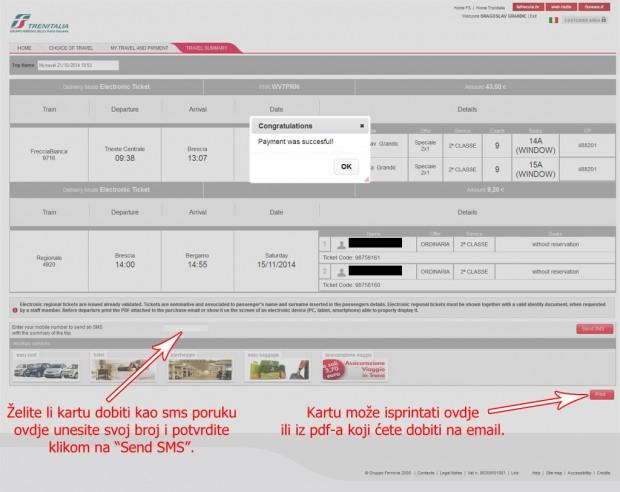 Potvrda kupovine, pošaljite sms ili isprintajte kartu