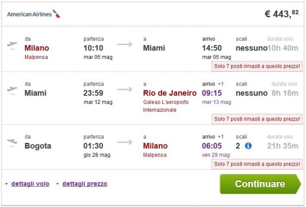 Milano >> New York ili Miami >> Sao Paulo ili Rio de Janeiro - Bogota >> Milano