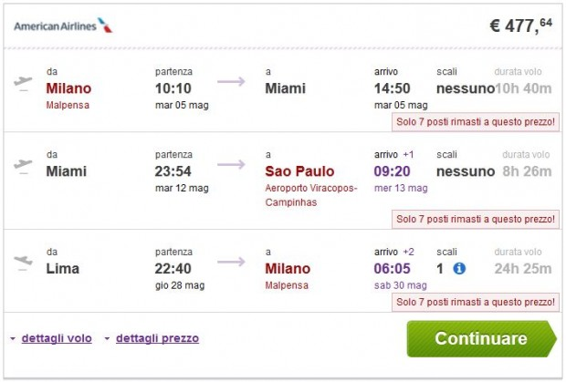Milano >> New York ili Miami >> Sao Paulo ili Rio de Janeiro - Lima >> Milano