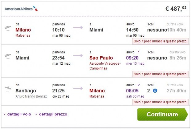 Milano >> New York ili Miami >> Sao Paulo ili Rio de Janeiro - Santiago >> Milano